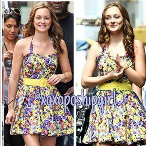 """Alice + Olivia """"Terry"""" Floral Halter Dress w/ Belt"""